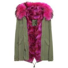 Mr & Mrs Italy Mini Fur-Lined Cotton Parka (€3.530) ❤ liked on Polyvore featuring outerwear, coats, green, fur-lined coats, fur lining coat, fur lined hood coat, fur hood coat and cotton parka
