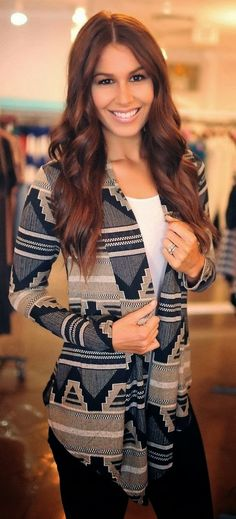 Beautiful Aztec Cardigan, white blouse and black jeans