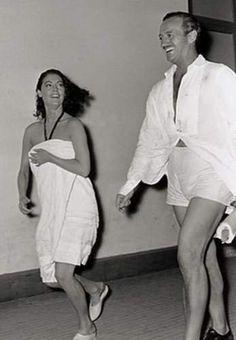 "va Gardner & David Niven trotting on the set of ""The Little Hut"" (1957)."