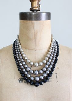 1960s Shades of Grey Multi Strand Necklace