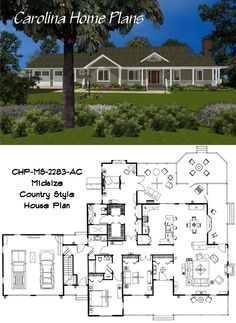 Midsize Country Style House Plan MS-2283-AC with 2283 square feet, 3 bedrooms and 2 baths
