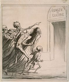 Council of War, 1872 Honoré Daumier (French, Lithograph 11 x 9 in. History Of Illustration, Illustration Art, Vintage Illustrations, Honore Daumier, Dance Of Death, Carlin, Political Art, Political Cartoons, Danse Macabre