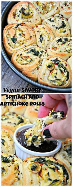Vegan Savory Spinach and Artichoke Rolls Vegan spinach and artichoke dip in an awesome portable package! The inside of these savory rolls are slathered with a creamy spinach and artichoke spread! Vegan Foods, Vegan Dishes, Vegan Meals, Vegan Apps, Whole Food Recipes, Cooking Recipes, Dinner Recipes, Dinner Ideas, Grill Recipes