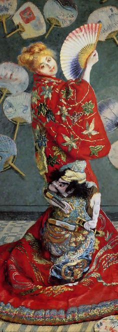 Claude Monet (1840-1926), 1876, La Japonaise or Madame Monet en costume japonais (detail), oil on canvas. Camille had been Monet's model since they met in 1865. The couple lived in depressing poverty.