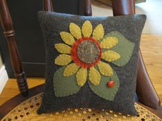 Applique Sunflower Pillow,,,All Wool with Ladybug Hand Made