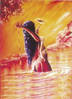 DragonsFaeriesElves&theUnseen : Oshun the African Queen of all Waters Oshun Y Yemaya, Oshun Goddess, African Mythology, African Goddess, Black Goddess, Goddess Of Love, Orishas Yoruba, Yoruba Religion, Black Art