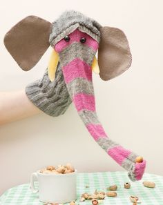 Very cute and crafty sock puppet: an elephant!