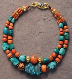 Nomad Bead Merchants Collection~ Tibetan Obsession~ Antique Beads of natural Coral and turquoise, original ancient dZi fragment, and 24k gold.