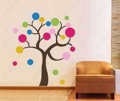 Colorful Circle Tree 43 inch ---Wall Art Home Decors Murals Removable Vinyl Decals Paper Stickers Art Wall Kids, Wall Art, Tree Wall Decor, Removable Wall Stickers, Class Decoration, Wall Murals, Wall Decal, Vinyl Decals, Classroom Decor