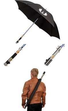 """Lightsaber Umbrella. Oh my gosh YES!!! I would be like """"Wow it's raining..i must defeat the rain with my...UMBRELLA SABER!! (whips out umbrella making Woomm sound affect)"""