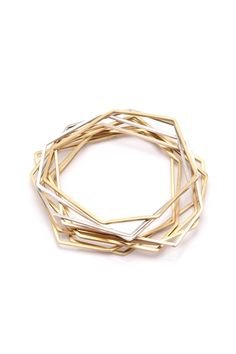 Gold Geometric Bangle Bracelets