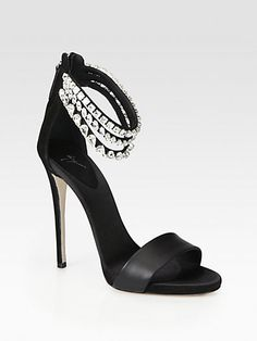 Giuseppe Zanotti Satin & Suede Crystal-Encrusted Ankle Strap Sandals