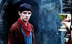 Merlin + his red neckerchief/blue shirt/brown jacket combo (gif set).