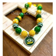 Green Bay Packers Chunky Bubblegum Necklace by BebeSucreOnline