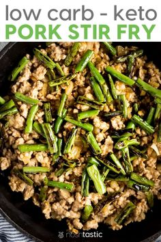 Keto Low Carb Pork Stir Fry Recipe with deliciously tasty charred green beans, y. - List of the best food recipe Paleo Recipes Easy, Low Carb Dinner Recipes, Stir Fry Recipes, Whole 30 Recipes, Pork Recipes, Asian Recipes, Great Recipes, Paleo Dinner, Ketogenic Recipes