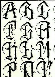 Chicano Tattoos Lettering, Tattoo Lettering Styles, Lettering Fonts Design, Graffiti Lettering Fonts, Calligraphy Letters Alphabet, Tattoo Fonts Alphabet, Tribal Letters, Fonte Alphabet, Card Tattoo Designs