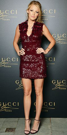 Blake Lively unveiled Gucci's Première fragrance in the label's embroidered cocktail dress