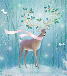 by Sarah Summers – Winterbilder Woodland Christmas, Magical Christmas, Christmas Deer, Vintage Christmas Cards, Christmas Pictures, Beautiful Christmas, Merry Christmas, Xmas, Christmas Graphics