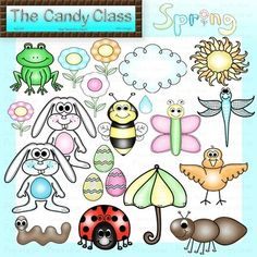 Spring Clip Art Lined & Color (Commercial Use) Weather, Easter, Insects & Bugs, and more!