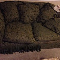 and another funky sofa from the #myparentsbasement contest posted on Instagram, this one's lost a bit of its fringe!