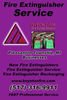 Fire Extinguisher Service Pleasanton Township, MI (517) 316-9911  We're Boynton Fire Safety Service.. The Main Source for Fire Protection for Michigan Businesses. Call Today!  We would love to hear from you.