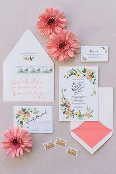 Inspirações para um casamento rústico: convite florido