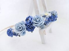 Flower crown blue and royal blue floral hair wreath by musefleur