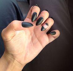 Black Matte Stiletto / Almond Nails design negative space