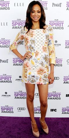 At the Independent Spirit Awards, Saldana worked a quilted Balmain print dress and patent leather Brian Atwood pumps.