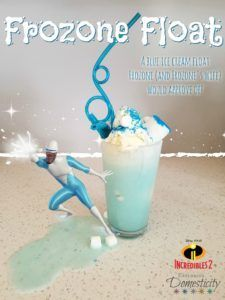 Celebrate Incredibles 2 with a Frozone Float - a blue ice cream float Frozone (and Frozone's wife) would approve of!    Blue food is always fun and ice cream floats are an exciting treat for the kids.    #DisneyMom #Disney #Incredibles2 #icecream #icecreamfloat #bluefood