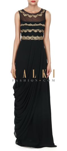 Buy Online from the link below. We ship worldwide (Free Shipping over US$100) Price-$149 Click Anywhere to Tag http://www.kalkifashion.com/black-kurti-adorn-in-kundan-embroidery-only-on-kalki.html