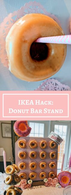 DIY donut stand - sure to be a crowd favourite at your next party. http://www.ikeahackers.net/2017/07/diy-donut-bar-stand-ikea-lack-table.html
