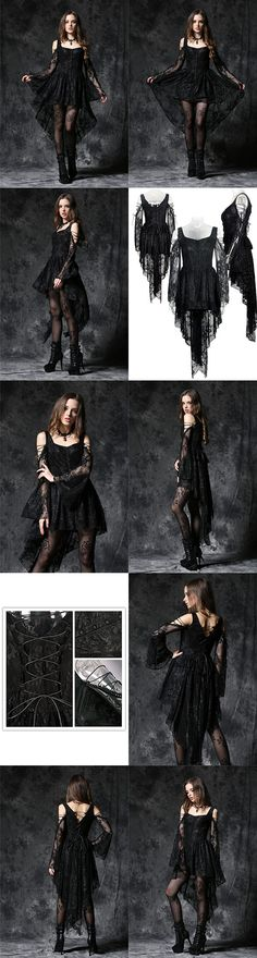 Dark In Love Gothic Ghost Dovetail Lace Dress with Button Front Detail - Black - Click to enlarge
