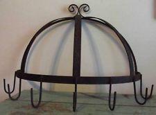 Vintage Semi-Circle Wrought Iron Black Wall Pot Rack Hanging Pan Holder 46