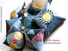 creative little recycled denim pin cushions Jean Crafts, Denim Crafts, Sewing Hacks, Sewing Crafts, Sewing Projects, Recycling Projects, Artisanats Denim, Denim Fabric, Denim Ideas