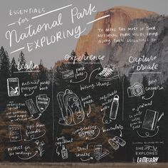 Our Essentials for National Park Exploring: An Illustrated Guide Whether you're visiting one National Park on a whim, or stringing many together on a road trip, bringing certain things can help enhance the experience. List Of National Parks, National Park Passport, Le Boudin, Hiking Essentials, Bistro Set, Adventure Is Out There, Survival Guide, Hiking Trails, Hiking Gear
