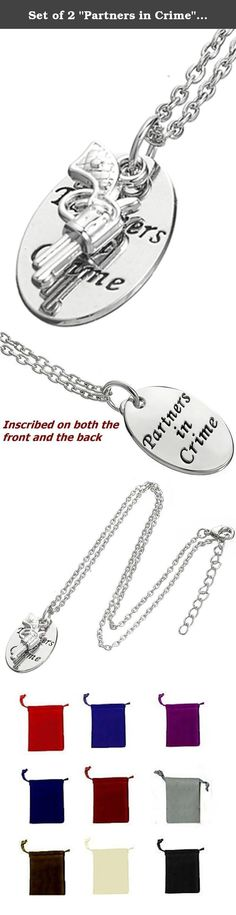 """Set of 2 """"Partners in Crime"""" Engraved Gun Charm Friendship Necklaces for Best Friends Sisters BFF Besties. Comes with TWO necklaces - One for you, and one for your partner in crime! Fun and trendy gift idea for best friends, sisters, mother and daughter, etc. This product is an exclusive design offered only by Glamour Girl Gifts."""