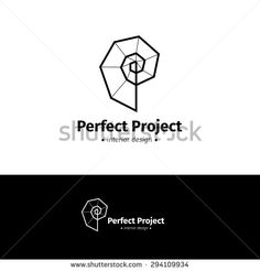 Vector modern minimalistic interior design logo. Black and white creative spiral logotype