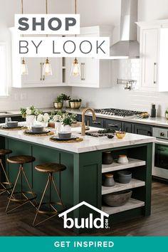 Green Kitchen Ideas - Home Design - lmolnar - Best Design and Decoration You Need Home Decor Kitchen, Interior Design Kitchen, Modern Interior Design, New Kitchen, Kitchen Ideas, Kitchen With Living Room, Green Kitchen Island, Condo Interior, Stylish Kitchen