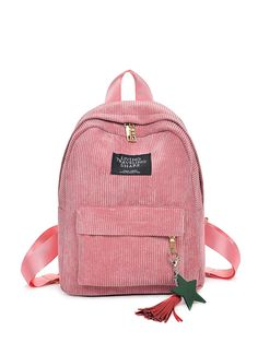 Pocket Front Corduroy Backpack With Tassel -SheIn(Sheinside)