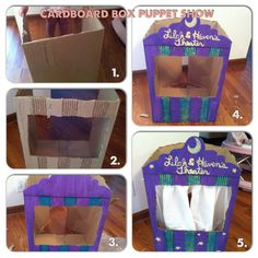 Cardboard box puppet show. Free fun craft!  Add some fun texture by taking the top layer of paper off the cardboard  Cut an old sheet... and run a chopstick or dowel through the hem that's already there for curtains!  Endless free fun!