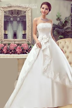 Hermoso Vestido de Novia Ball Gown Sin Tirantes Estilo Largo al Piso http://es.tidebuy.com