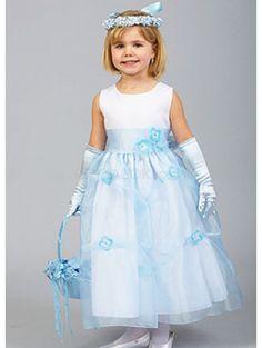 White And Light Sky Blue Sleeveless Satin Organza Flower Girl Dress