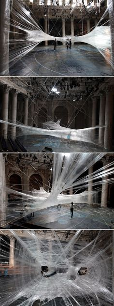 Sick Spider Web Installation Made of Packaging Tape (6 pics) - NUMEN FORUSE