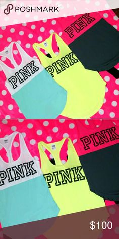 Vs PINK Ultimate Tank Tops. All size XS. All in Excellent Flawless Condition! PINK Victoria's Secret Tops Tank Tops