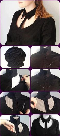 Chic Look with a Cut Out Shirt – DIY - collarless white shirt mens, mens butto. Chic Look with a Cut Out Shirt – DIY - collarless white shirt mens, mens button short sleeve shirts, black slim fit butt. Cut Out Shirt Diy, Diy Shirt, Shirt Dress Diy, Diy Cut Shirts, Shirt Hair, Jumper Dress, Diy Clothing, Sewing Clothes, Clothes Refashion