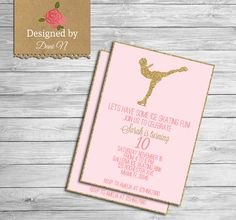 New to DesignedbyDaniN on Etsy: Ice Skating Birthday Party INVITATION glitter sparkle printable invite Skates pink and gold first birthday Any Age Birthday Party (15.00 USD)