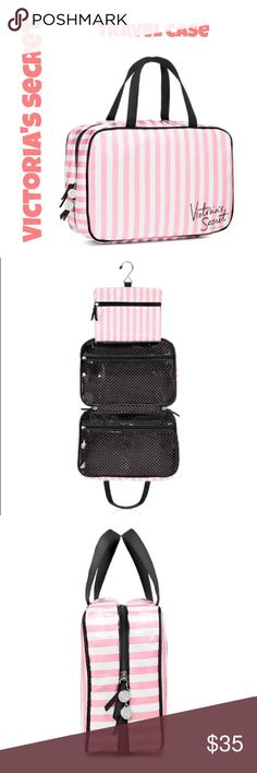 """Victoria's Secret hanging travel case Brand new! Victoria's Secret Hanging travel case. Signature pink and white stripes.   * 4""""L x 11""""W x 7 1/2""""H * 2 clear zip compartments  * Hang up wherever you go! * Perfect for college dorm room or traveling Victoria's Secret Bags Travel Bags"""