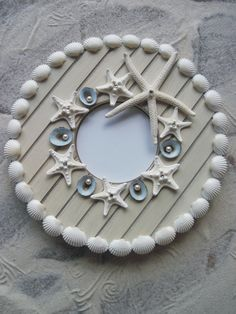 Crystal Pearly Seashell Frame/  can use small shells on border, love this style