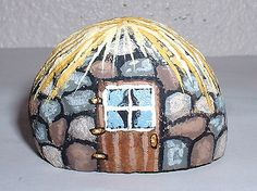 Stone Cottage with A Thatched Roof Miniature Painted Rock Vivian Allen   eBay